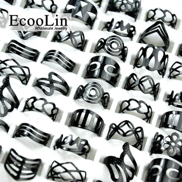 EcooLin Gioielli Vintage Nero In Lega di Zinco Gypsy Regolabile Tatuaggio Dito Anelli Anello di Punta Lotti Per Le Donne Uomini Bulk Gioielli Lotti Mix Stile BK4010