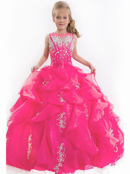 Girls kids Pageant Prom Party Ball Gown Princess Formal Puffy Flower Girl Dress