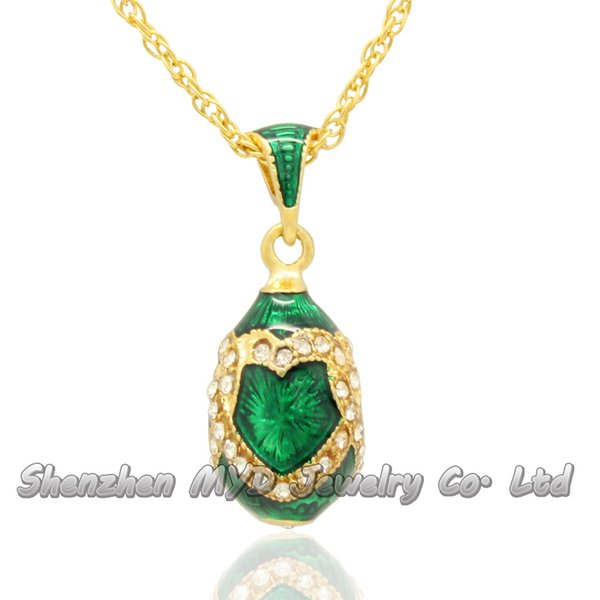 Stylish women jewelry high quality necklace colorful enameled double heart design girls Russian style Faberge egg pendants for ladies