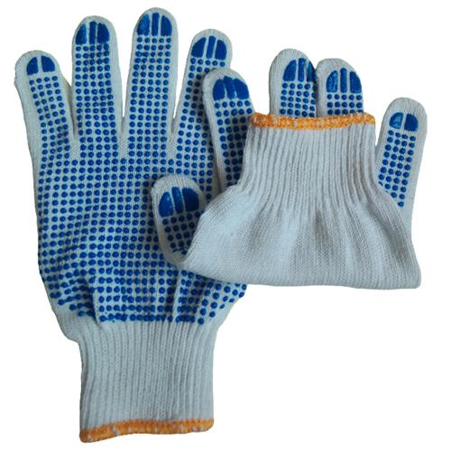 best selling Bleached White Cotton Dotted Blue PVC On One Side Protective Glove For Men Cotton Protective PVC Glove