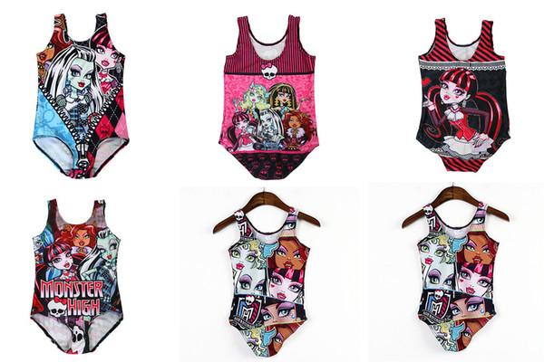 top popular New monster high Baby Girls One-Pieces Swimsuit children cartoon monster high Swimwear Bikini Suit free shipping C1012 2020