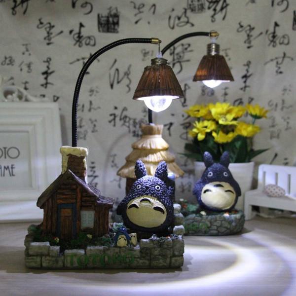 Nova Moda Artesanato Resina Totoro Night Light LED Candeeiros De Mesa Cabeceira Nightlights Para Crianças Presente de Aniversário leds Bed Room Decor