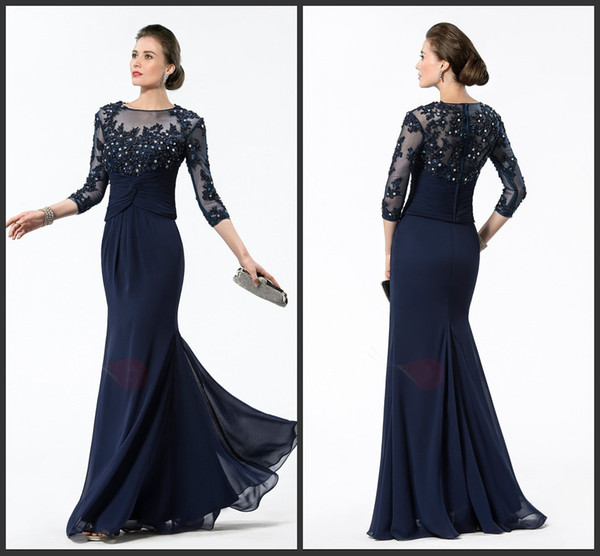 Custom Chiffon Mother Dresses Party Long SLeeve Appliques Beading Sequin Bateau Neck Iullsion Crystals Chiffon Gown Floor Length Sexy