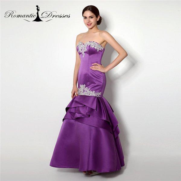 Purple Satin Mermaid Prom Dresses Romantic Dresses Strapless Instock ...