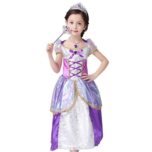 Rapunzel dress Costume girls Kids Cosplay Dresses childrenu0027s days party dress Holiday dress performance clothing girls  sc 1 st  DHgate.com & 2018 Rapunzel Dress Costume Girls Kids Cosplay Dresses Childrenu0027S ...