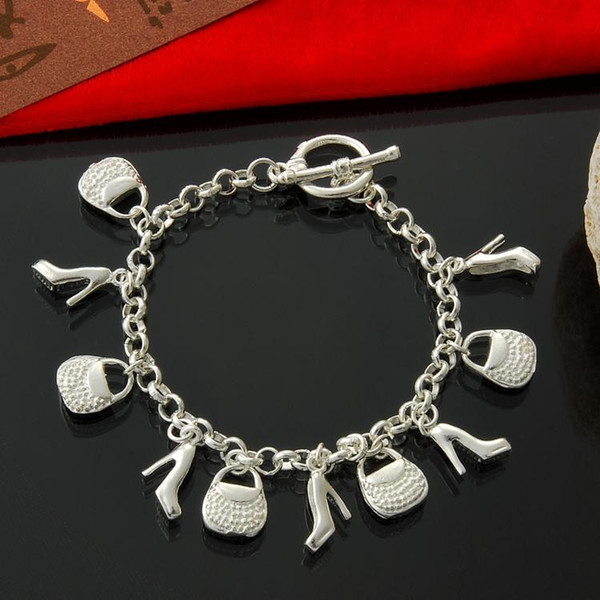 Factory direct wholesale 925 Sterling Silver Bracelet Silver jewelry bags and shoes