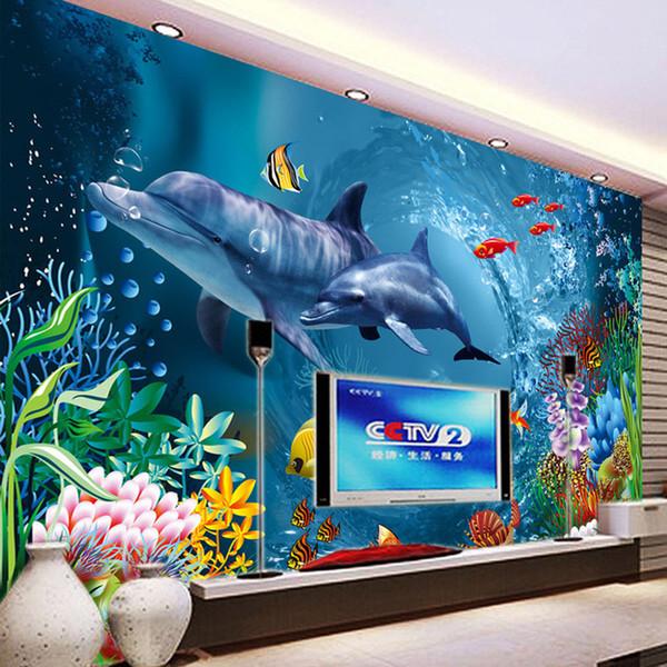 Großhandel Unterwasserwelt Wallpaper Ozean Wandbild Delphin Fototapete  Kinder Schlafzimmer Wohnzimmer Büro TV Kulisse 3D Zimmer Dekor Tapete Von  ...