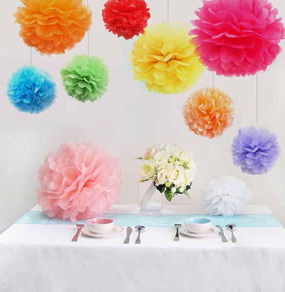 15% off! SALE!(38cm-50cm) pompon Tissue Paper Pom Poms Flower Kissing Balls Home Decoration Festive Party Supplies Wedding decoration 20pcs