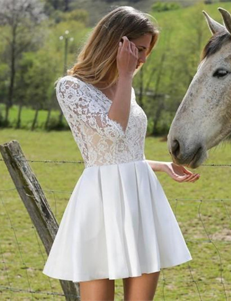 Hot Selling 2017 Sexy Style Short Wedding Dress Backless Half Sleeve Lace Satin Mini A Line Bridal Gowns Custom Size
