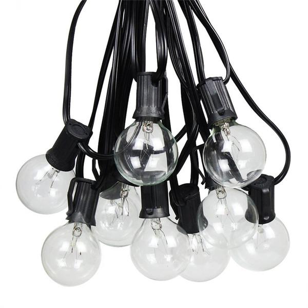 25Ft G40 Patio String Lights 25 LED Ampoule Effacer Ampoule Arrière-Cour Patio Lights Vintage Ampoules Décoratif En Plein Air Guirlande De Mariage