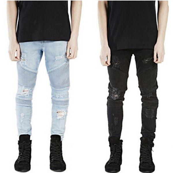 Al por mayor-nueva Hi-Street Mens Ripped deshilachado Rider hombres Biker Jeans Motocicleta lavada Azul Negro Moto Joggers Skinny pantalones de mezclilla masculinos