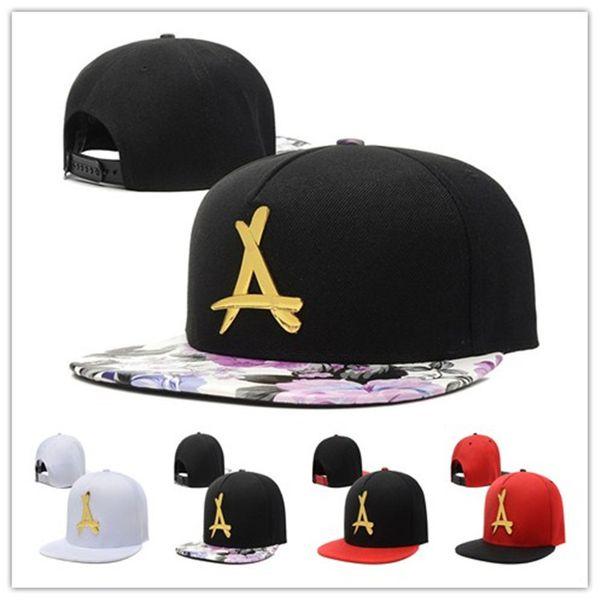 Wholesale Tha Alumni Baseball Caps Gold A Letter bboy hip hop cap famous snapback Hats for men women snapback bones-in hats