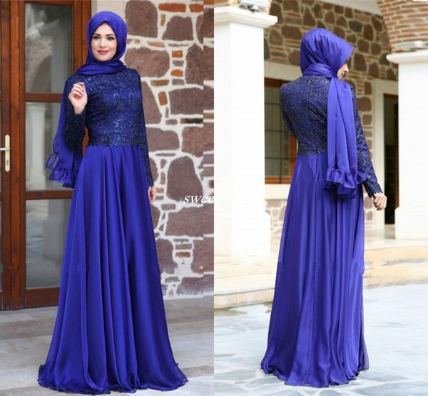 2020 robes de soirée musulmanes turques hijab manches longues en dentelle chiffon longueur de plancher royal bleu mère de la robe de mariée robes de soirée