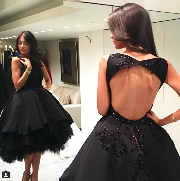 Sexy Backless Little Black Homecoming Dresses A Line Jewel Neck Beaded High Low Prom Party Gowns Graduation Dresses for Juniors
