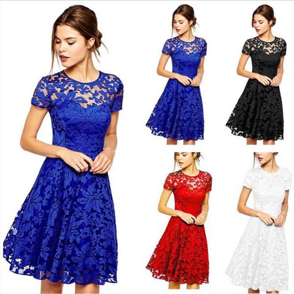 Femmes Casual Floral Lace Robes À Manches Courtes Soild Couleur Bleu Rouge Noir Parti Mini Dress OOA2863