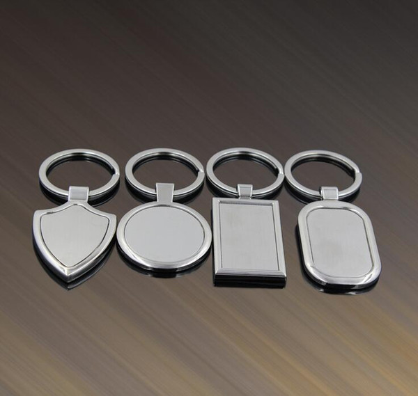 top popular Metal Blank Tag keychain Creative Car Keychain Personalized Stainless Steel Key Ring Business Advertising For Promotion 2020