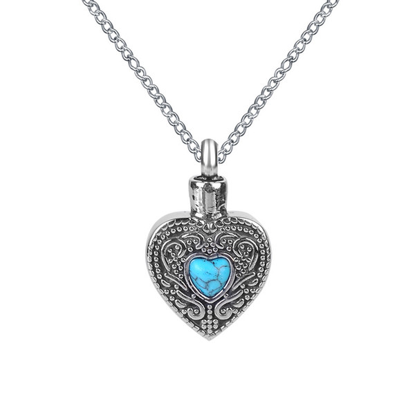 Lily Cremation Jewelry Blue Turquoise in Heart Urn Necklace Memorial Ash Keepsake Pendant With Gift Bag Funnel and Chain