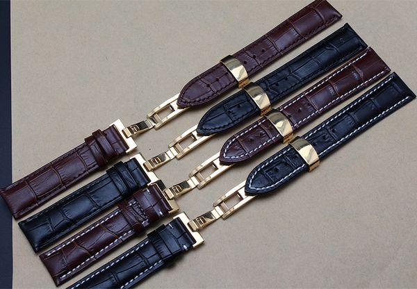 Nuovi cinturini a farfalla in oro con fibbia per orologi 18mm 19mm 20mm 21mm 22mm cinturini in vera pelle uomini cinturini in promozione