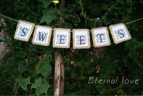 Toptan Satış - SWEETS Çuval bezi Tuval Afiş, düğün, resepsiyon, gelin duş, bebek duş kutlamaları için rustik tatlılar tabelası işareti.