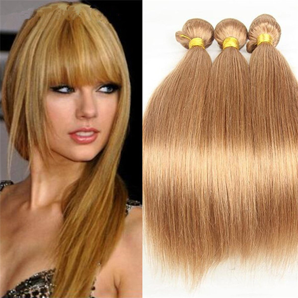 Top 10A Honey Blonde Brazilian Straight Hair Bundles 3Pcs/Lot Pure Color #27 Blonde Silky Straight 10''-30'' Human Hair Weaves Extensions