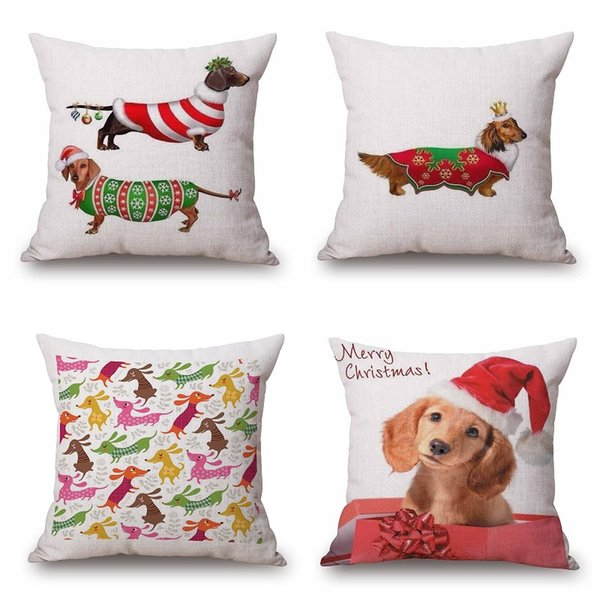 Sausage Dog Cushion Covers Christmas Festival Dachshund Throw Pillow Cases 45X45cm Thin Linen Cotton Beige Bedroom Sofa Decoration Kids Gift