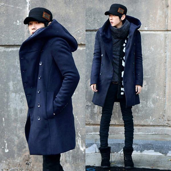 Toptan-2017 Sonbahar Kış Kore Tarzı Kapşonlu Trençkot Erkekler Slim Fit Çift Düğme Uzun Siper Casual Siyah Donanma Erkek Ceket Boyutu 3XL