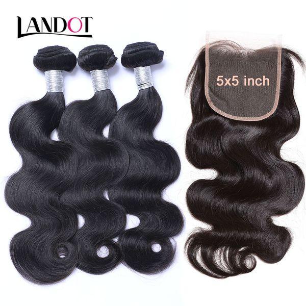 8a human hair weave 3 bundle with 5x5 lace clo ure unproce ed virgin brazilian peruvian malay ian indian body wave remy mink exten ion, Black