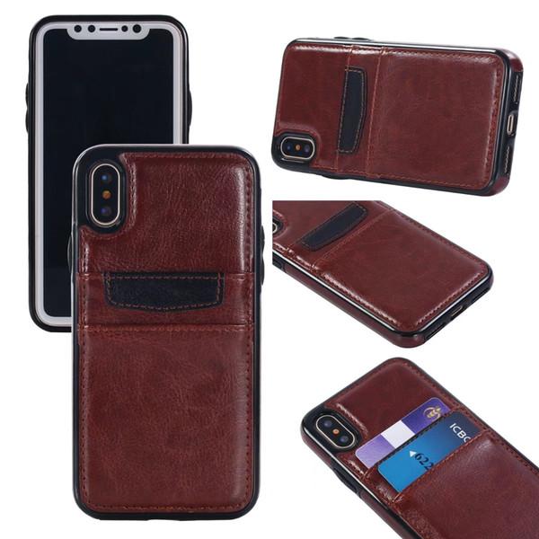 Para iphone 6 7 8 plus x a prueba de golpes de cuero retro TPU dura trasera cubierta de la caja con ranuras para tarjetas de crédito titular para Samsung S7 S7edge S8 Plus