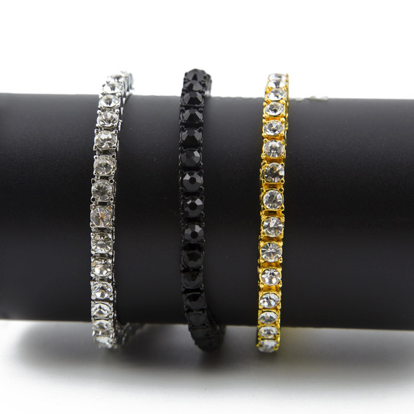 best selling Iced Out 1 Row Rhinestones Bracelet Men Hip Hop Style Clear Simulated Diamond 7 8 9inches Bracelet Bling Bling