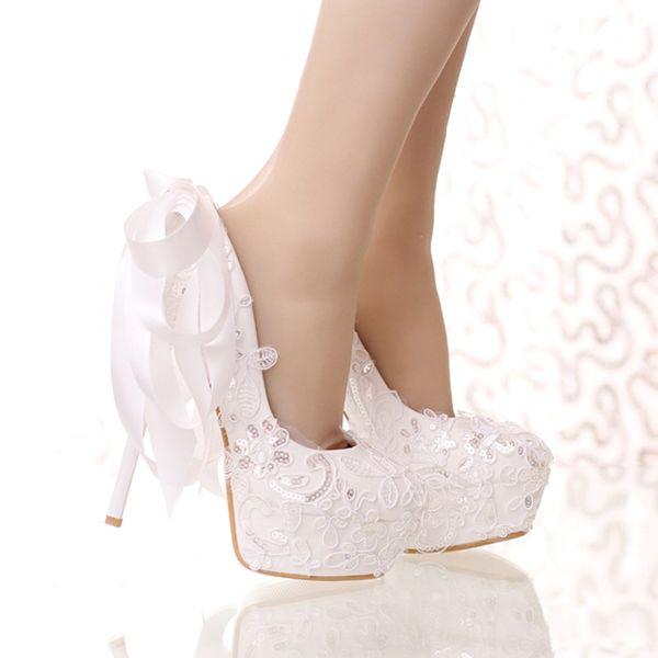 Scarpe Da Sposa Bianche.Acquista Scarpe Da Sposa Bianche Con Pizzo E Glitter Scarpe Da