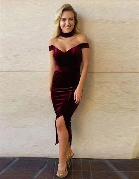 Sexy Off Shoulder 2017 Mother Of The Bride Dresses Tea Length Deep V Neck Velvet Burgundy Evening Dress For Mother