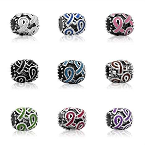 Breast Cancer Awareness Jewelry DIY Interchangeable Pink Ribbon purple ribbon 9 colors Charms beads Fits European Pandora Jewelry Bracelets