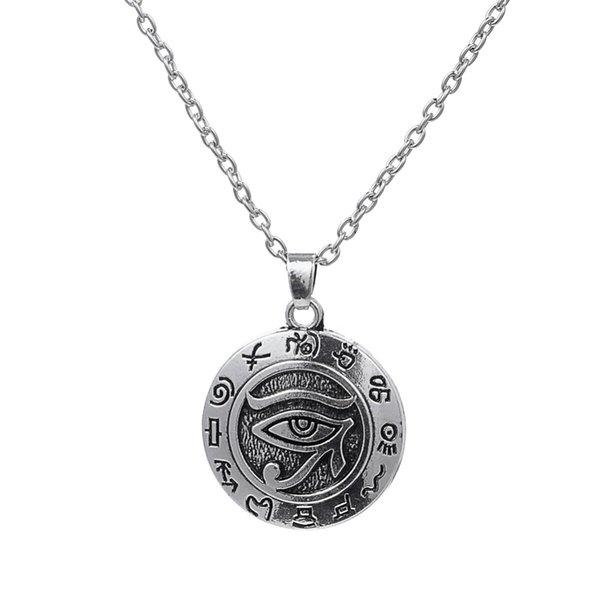 Ägyptisches Auge von Ra Horus Vintage Silber Charm Halskette Anhänger Lariat Schmuck