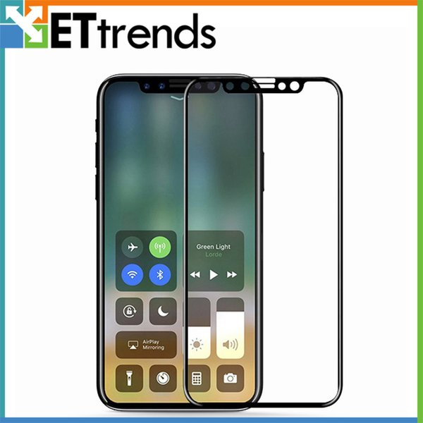 For iPhone X Full Printed 9H Hardness No Bubbles Tempered Glass Screen Protector with Paper Box Package DC1097 DHL Free Shipping Black Color