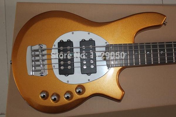 Bongo Music Man 5 Strings Bass Erime Ball StingRay Gold Electric Guitar 9V Battery Active Pickups White Pickguard Chrome Hardware