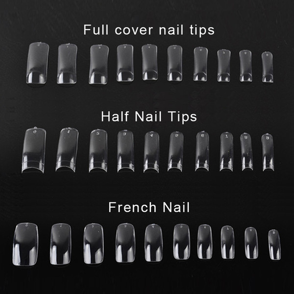 best selling 500 PCS Clear False Nail Acrylic UV Gel Half French Transparent Nail Tips For Women Nail Art Beauty Tools 0603042