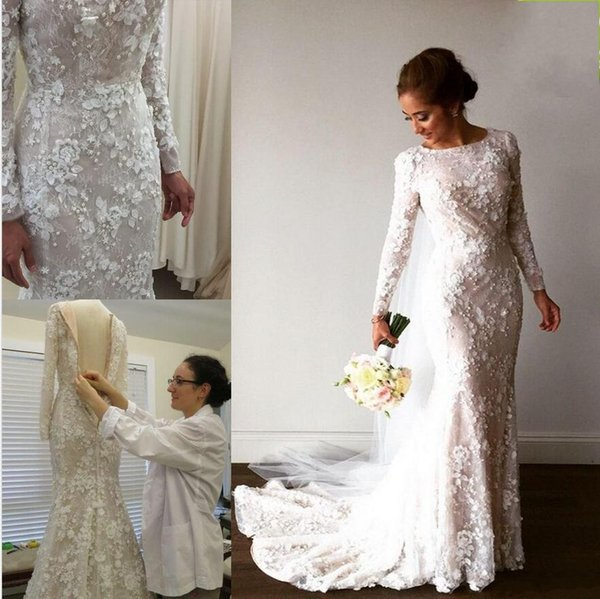 2017 Vintage Mermaid Arabic Wedding Dresses Long Sleeve 3d Floral ...