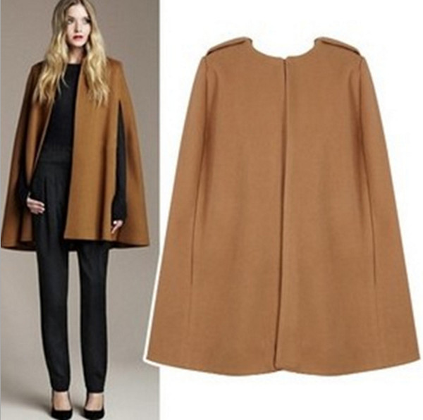 Free shipping Gorgeous Camel color WOOL Cashmere Cloak Cape Jacket Mod MILITARY Swing Sleeveless Minimalist Coat for women