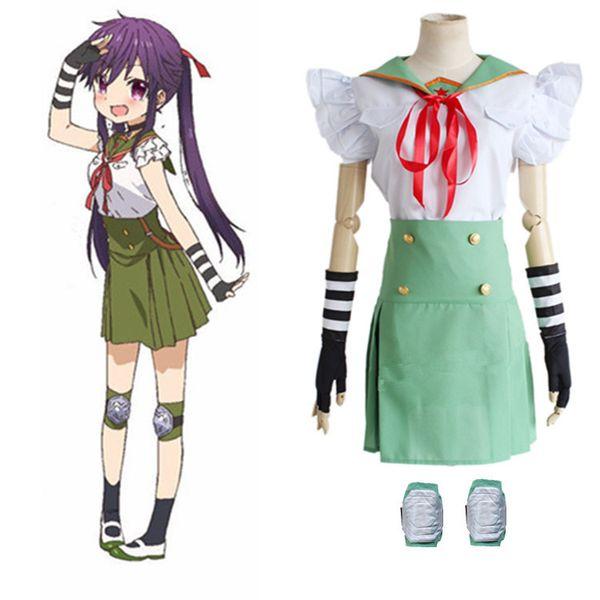 Japanese Anime SCHOOL - IN DIRETTA! Cosplay Ebisuzawa per ragazze Kurumi Costume Top + Gonna + Legging + Guanti per set