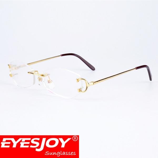 a3f7d25619 Rimless Optical Clear Lens Glasses Eyeglasses Frames Myopia Metal Frame  Reading Luxury Eye Glasses Men for Women CT4193826