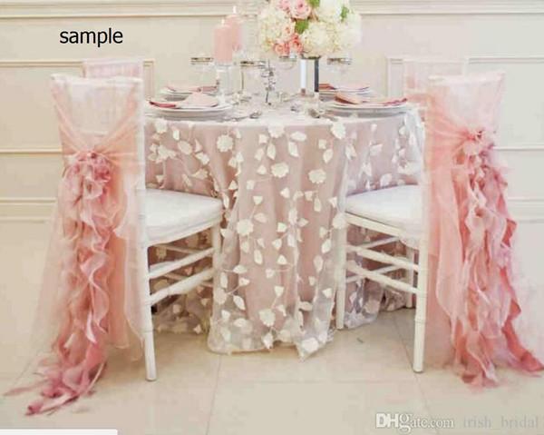 2015 Blush Pink Chiffon Ruffles Romantic Beautiful Chair Sash Sample G01