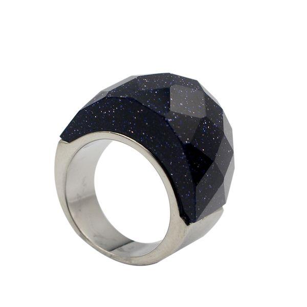 Anelli d'argento arenaria blu sudafricana naturali dell'anello profondo di colore con gli anelli brillanti delle stelle Stile popolare per le signore