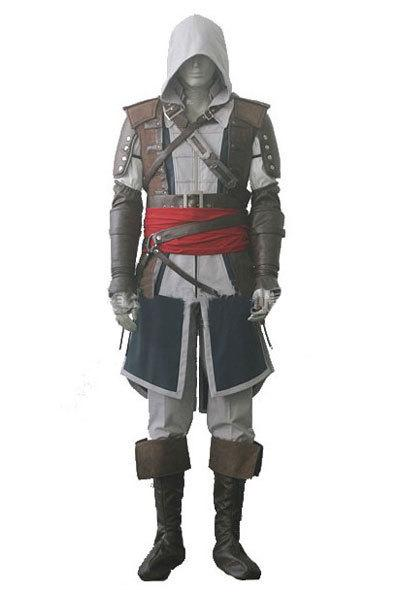 Wholesale-Assassin's Creed IV 4 Black Flag Edward Kenway Cosplay Costume Whole Set Custom Made Express Shipping