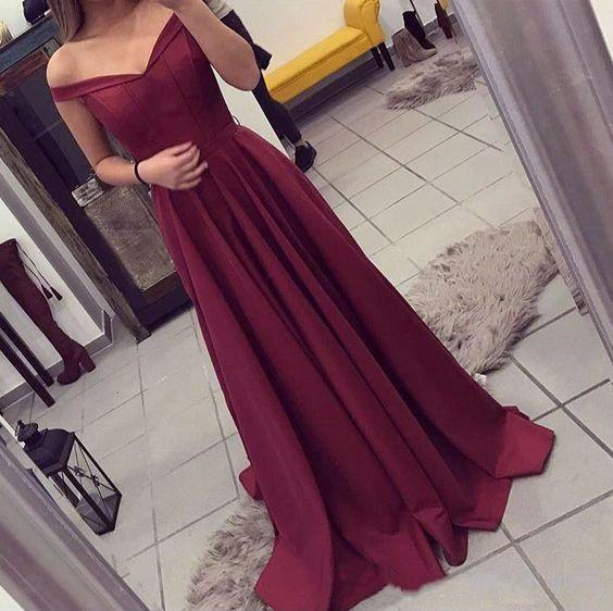 2017 elegante borgonha vestidos de baile off-a-ombro a linha adolescentes zíper de volta longo formal vestidos de noite vestido de festa