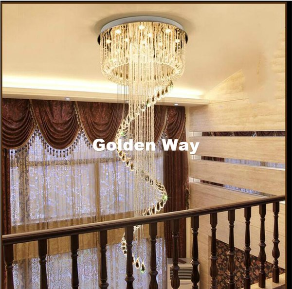 New Arrival Modern Led K9 Crystal Chandelier Suspension Crystal Rotate Villa Stairs Pendant Lighting Dining Room Lamp Droplight Dining Room