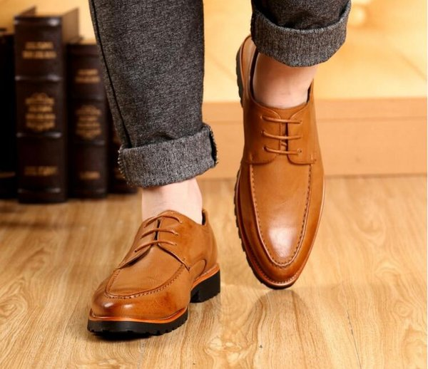 2016Handmade genuine leather men shoes,Men Flats shoes,business dress shoes,new bullock Men Shoes Breathable Height Increasing casual shoes