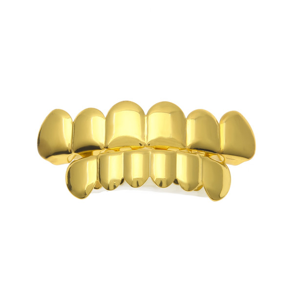 New Fit Gold Silver Plated Hip Hop Teeth Grillz Caps Top Bottom Grill Set for Men
