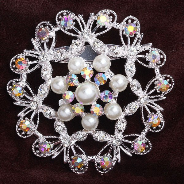 Fashion Bouquet Brooch Jewelry For Wedding Pearl Butterfly Flower Crystal Rhinestone Bride Brooch Pins Women Brooch Gift For Women