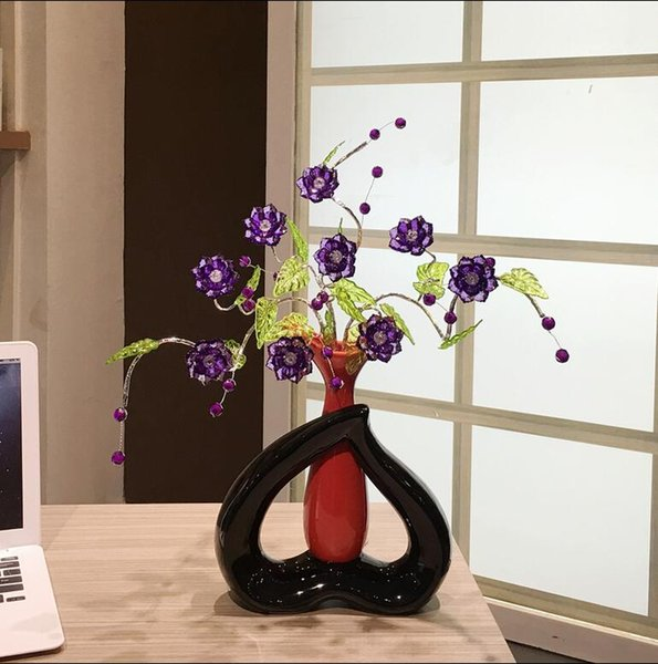 Modern Lucky heart 15 Shapes Ceramic Vase for Home Decor Tabletop this pirce is for a set vase and flowers together
