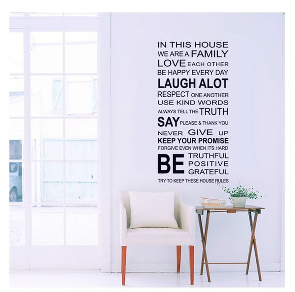 Hot Sale Quotes and Family Wall Sticker Home Decor PVC Removable Letters Wall Mural Decals for Living Room High Quality and Cheap
